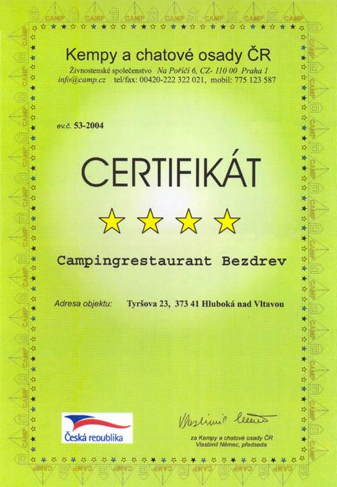 certifikát kempu bezdrev